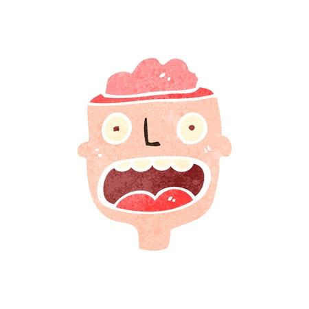 exposed: retro cartoon man with exposed brain