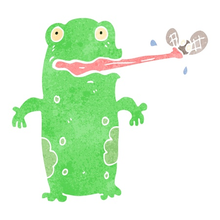 retro cartoon frog catching fly Vector