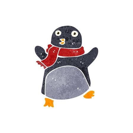 retro cartoon christmas penguin Vector
