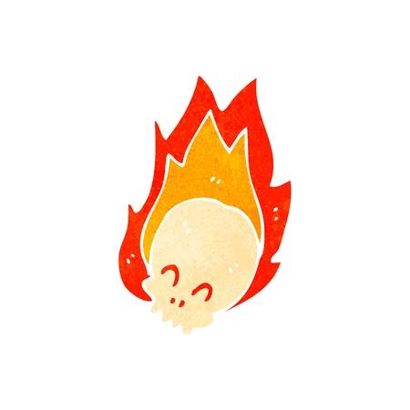 retro cartoon flaming skull Vector