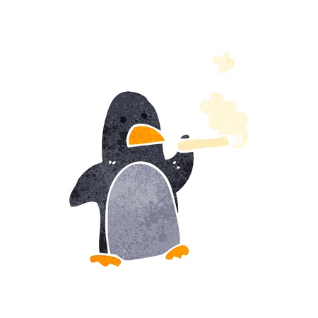 retro cartoon penguin smoking cigarette Vector