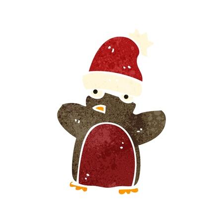 christmas robin: retro cartoon funny christmas robin Illustration