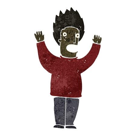 terrified: retro cartoon terrified man Illustration