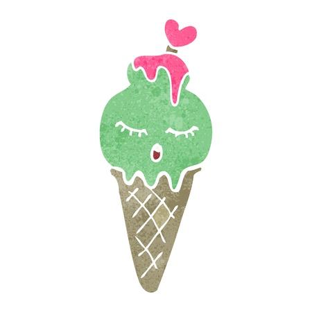 helado caricatura: retro dibujos cono de helado