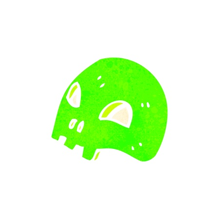 retro cartoon glowing green skull symbol Vector
