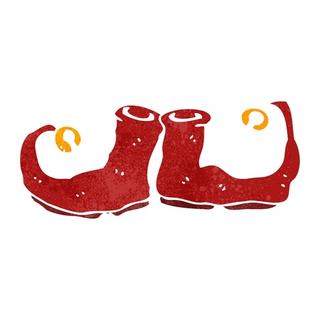cartoon elfe: Retro-Cartoon Christmas Elf Schuhe Illustration