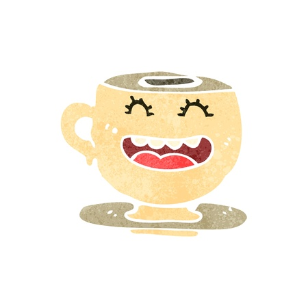 retro cartoon teacup 矢量图像