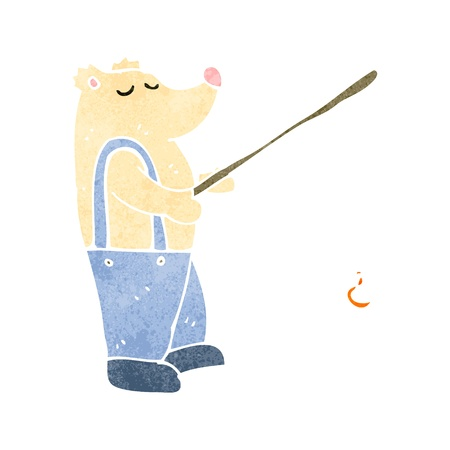 retro cartoon polar bear with fishing rod Vector