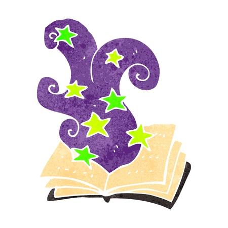 spell: retro cartoon magic spell book Illustration