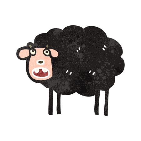 zwart schaap: retro cartoon zwarte schapen