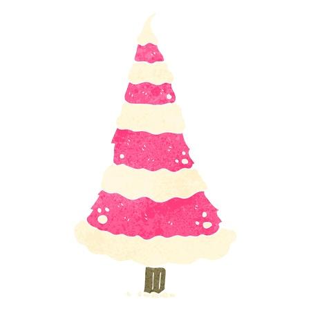 christmas watercolor: retro cartoon christmas tree