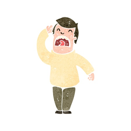 straining: retro cartoon man straining to hear