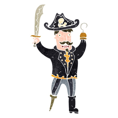 retro cartoon pirate captain Vector