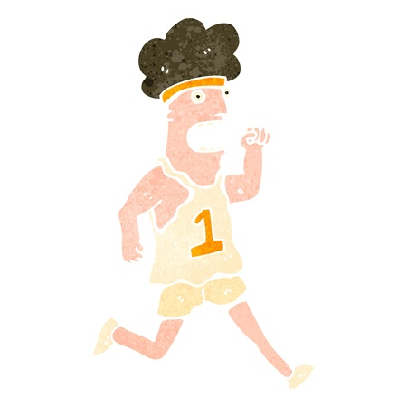 retro cartoon marathon runner