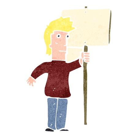 retro cartoon protester with sign Stock Vector - 22188317