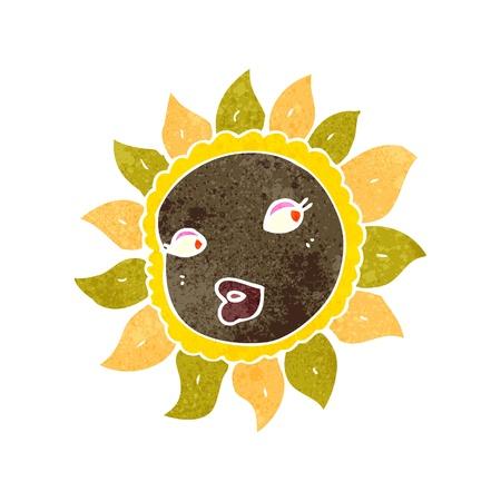 retro cartoon pretty sunflower Stock Vector - 22188328