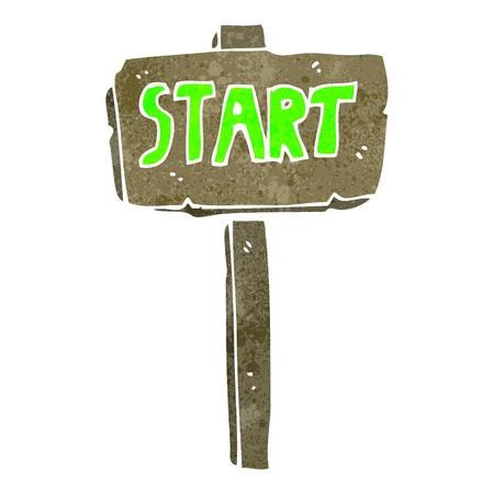 retro cartoon start sign Stock Vector - 22188352