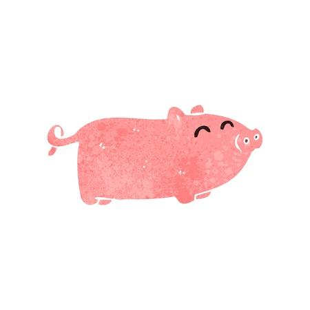 retro cartoon pig 일러스트