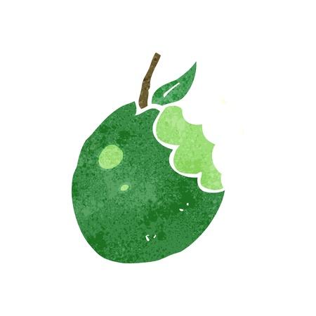 bitten: retro de dibujos animados manzana mordida