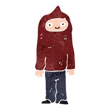 encapuchado: chico de dibujos animados retro en tapa encapuchada