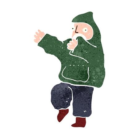 hooded: retro cartoon boy in hooded top