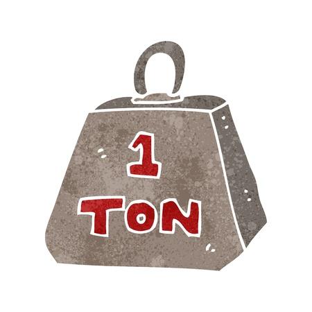 ton: Retro karikatür bir ton ağırlığı Çizim