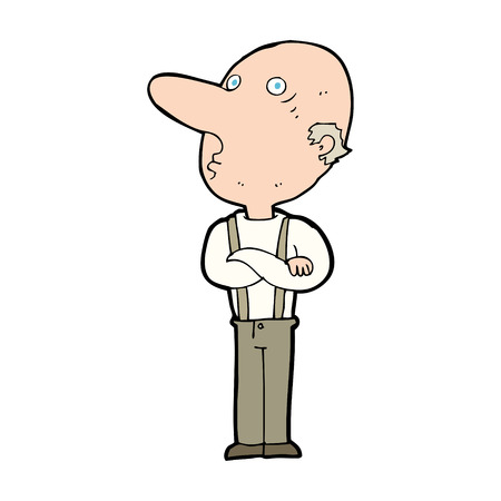 folded arms: cartoon old man with folded arms