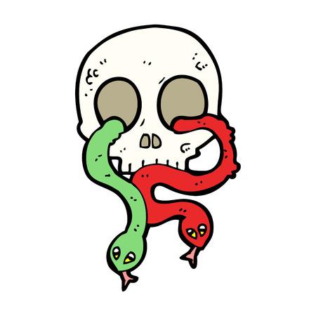 calavera caricatura: cr�neo de la historieta con las serpientes