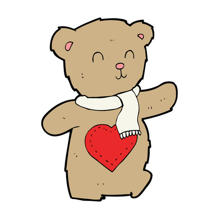 cartoon teddy bear with love heart Vector