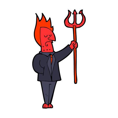 pitchfork: cartoon devil with pitchfork