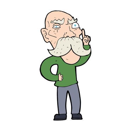 reciting: cartoon annoyed old man Illustration