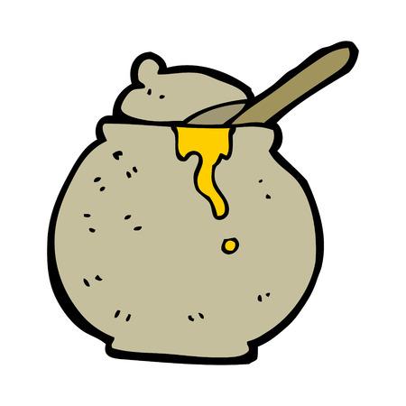 pot miel: bande dessin�e pot de miel Illustration