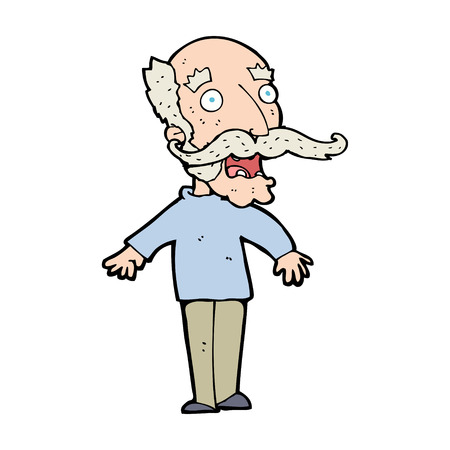 gasp: cartoon old man gasping in surprise