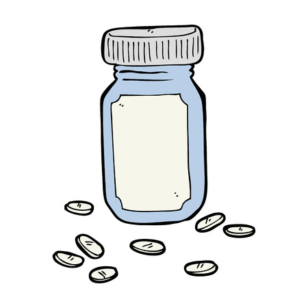 cartoon jar of pills Vector
