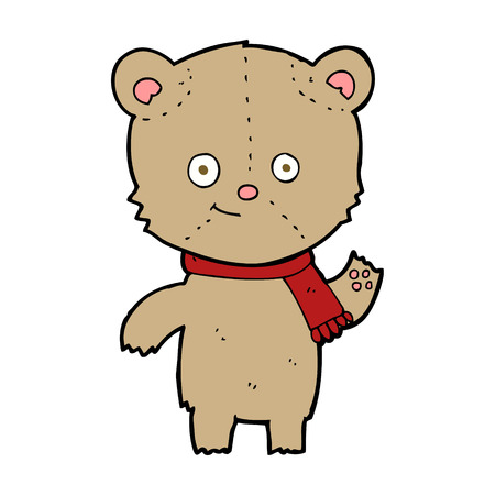 cartoon teddy bear waving Vector