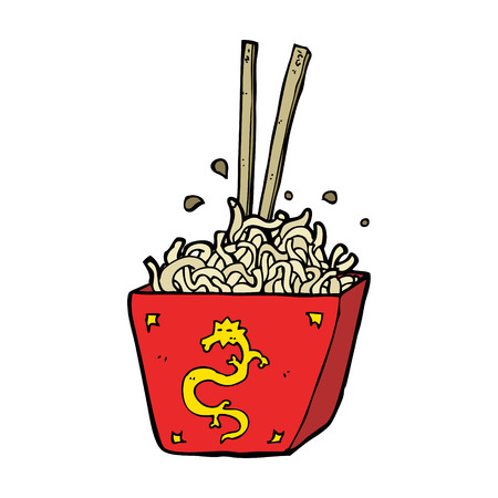 chinese takeout box: cartoon noodles in box Illustration