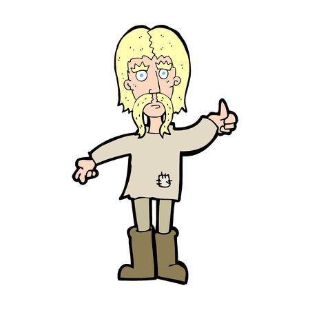 man long hair: cartoon hippie man giving thumbs up symbol Illustration