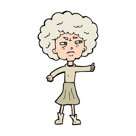 annoyed: cartoon annoyed old woman