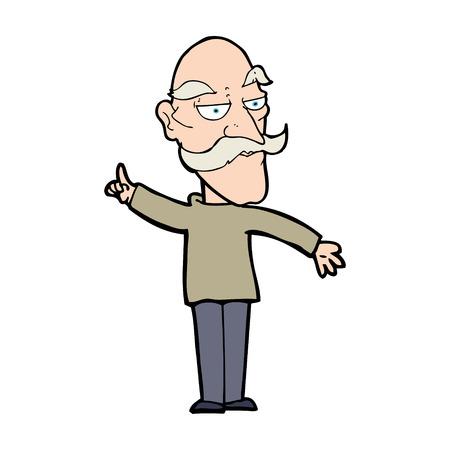 cartoon old man telling story Ilustração