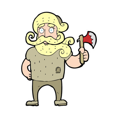 woodsman: cartoon lumberjack with axe