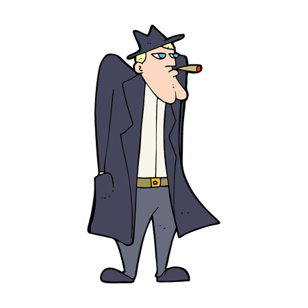 vintage cigar: cartoon man in hat and trenchcoat