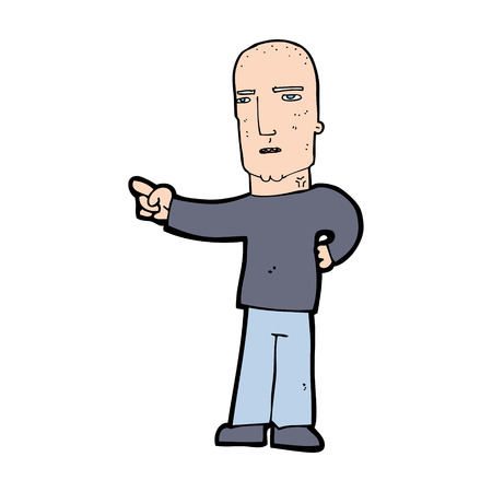 tough: cartoon tough guy pointing Illustration