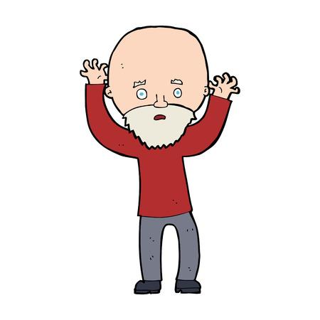 bearded man: cartoon bearded man panicking