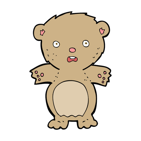 teddy bear cartoon: frightened teddy bear cartoon
