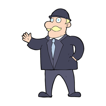cartoon sensible businessman in bowler hat Stock Vector - 24805813