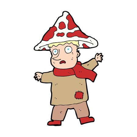 cartoon magical mushroom man Vector