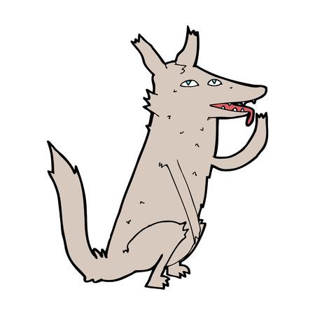 licking: cartoon wolf licking paw Illustration