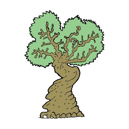 gnarled: cartoon big old tree