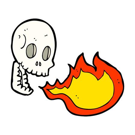 cartoon fire: cartoon fire breathing skull