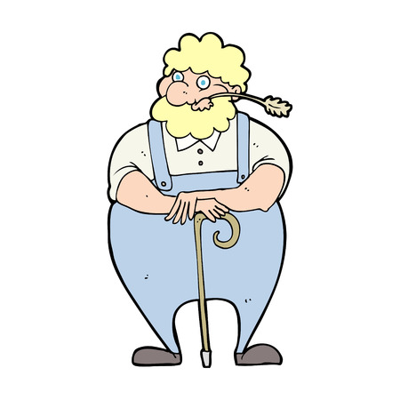 dungarees: cartoon farmer leaning on walking stick